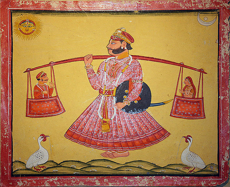 Raghogarh Style Painting of 'Sharavan Kumar'